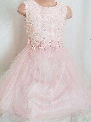 Girls Light Pink Sparkly Sequin Trim Satin Tulle Princess Pageant Party Dress