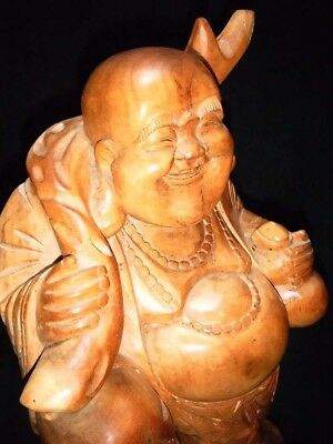 Wooden Lucky Laughing Buddha Figure H 11 1/2""