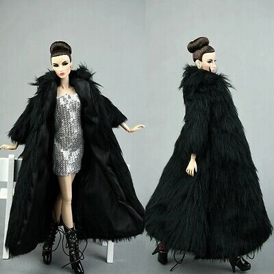 2 Pcs Fashion Black Long Fur Coat + dress Clothes/Outfit For 11.5in.Doll