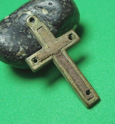 Ancient Bronze Cross Wearable Pendant Antique Rare C144