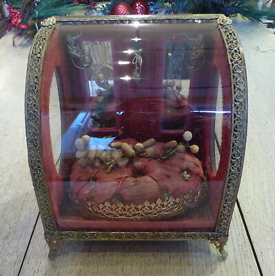 Antique French bijouterie cabinet rare curved glass wedding display 19thC monkey