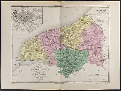 1852 - Old Map of the Department the Seine Maritime (Lower), per Bine