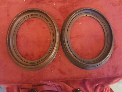 "PAIR of Antique Vintage Oval Walnut Wood Picture  Frames 11""X 13"" Outside Dia"
