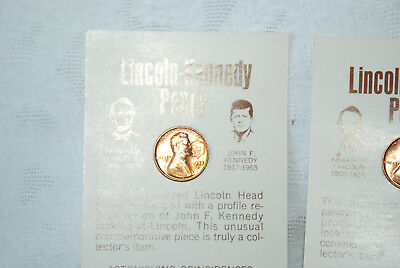 LINCOLN KENNEDY 1973 D PENNY Uncirculated coins    lot 8  Mounted To Cards