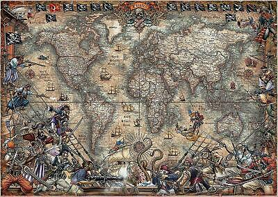 NEW! Educa Pirates Map 2000 piece ancient world map jigsaw puzzle 18008