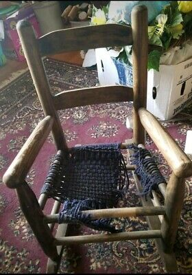 "Primitive Antique Wooden Child's Rocking Chair Solid Wood Old Rocker 23"" Project"