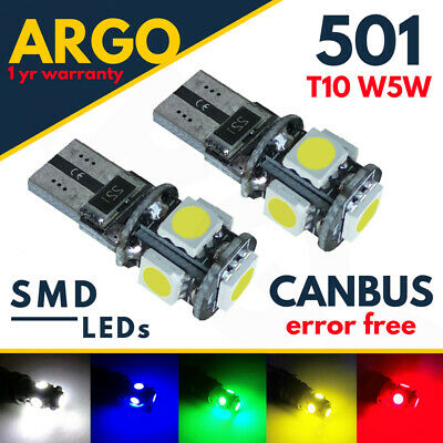 T10 501 W5W Car Side Light Bulbs Error Free Canbus Wedge 5 Smd Led Xenon Hid