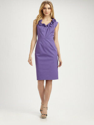 ELIE TAHARI Roxanna Purple Ruffle Neck Belt Dress 6 $348
