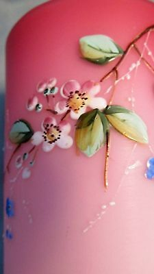Victorian 1880's Pink Cased Satin Art Glass Enamel Floral Decorated Tumbler C