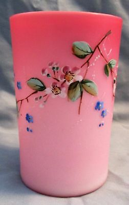 Victorian 1880's Pink Cased Satin Art Glass Enamel Floral Decorated Tumbler B