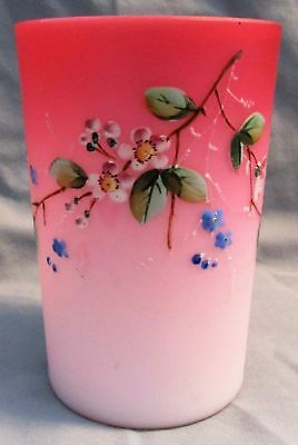 Victorian 1880's Pink Cased Satin Art Glass Enamel  Floral Decorated Tumbler A