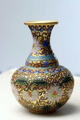 Antique Vintage Chinese Brass  Open Work Enamel Floral Cloisonne Vase