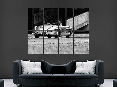 Mercedes Sl 300 Classic Car Poster Silver Sports Car Giant Wall Art Print Large