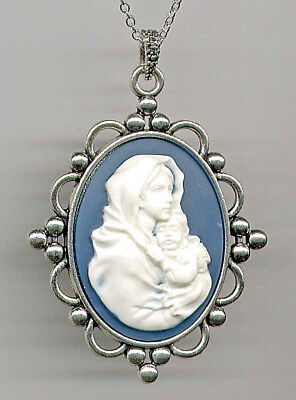 Antique Silver Ivory Blue Madonna Child Mother Mary Baby Jesus CAMEO Necklace