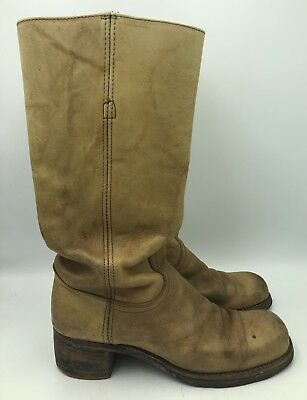ed6d009d85fcc VINTAGE FRYE TALL Campus Tan Leather Boots Womens Size 8.5