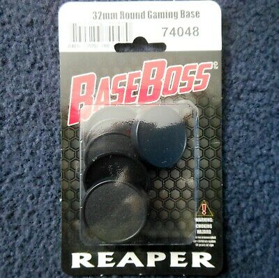 Reaper Bones 74048 32mm Round Gaming Bases x10 Lipped Black Plastic Base Scenery