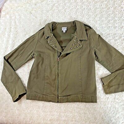 D Signed Dsigned Girls Sz XL Army Green Jacket Zip Up Side