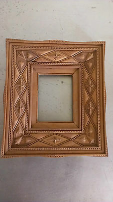 Intricate Layered Antique Tramp Art Wooden Folk Art Frame Cushioned Chip Carved
