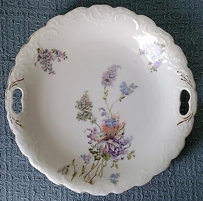 "9¾"" Hand Painted SERVING PLATE with CUTOUT HANDLES ~ Embossed Rim ~ ca. 1900"