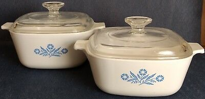 "Corning Ware ~ ""Blue Cornflower"" ~ 2 CASSEROLE DISHES with LIDS ~ 1½ and 1¾-Qt."