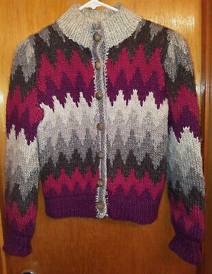 Hand Knitted Wool in a Multi-Colored Chevron Pattern Women's Cardigan Sweater