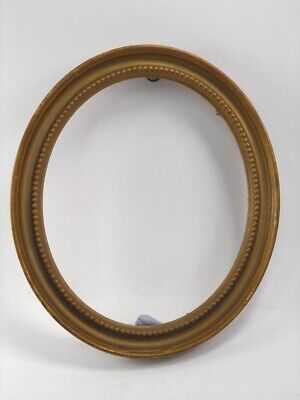 Antique late 19th century gilt painted wooden oval picture frame painting