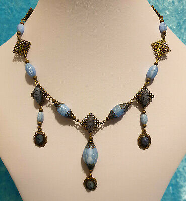 Vintage Art Deco Style Egyptian Revival Pressed Glass & Scarab Cabochon Necklace