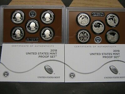 2018 S  2019 S Clad  Proof America The Beautiful Quarter Sets With  Coa's