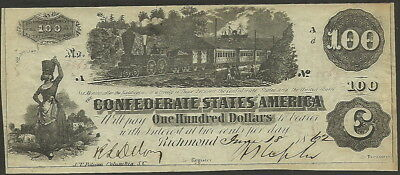 Confederate States $100 T-39, 1862, Nice Clean Circulated Note, Train