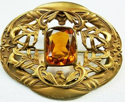Antique Victorian Gilt Brass Filigree Citrine Glass Sash Brooch 1895 C&R Co
