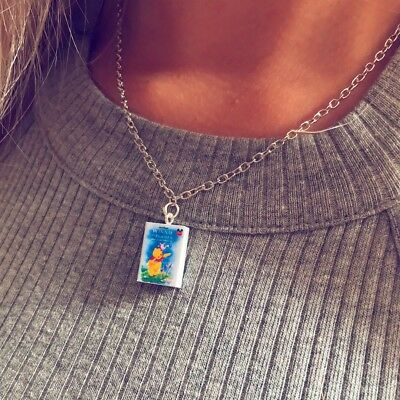 Winnie the Pooh Pendant Charm Necklace Silver Chain Cabochon Jewelry UK Seller
