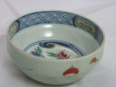 Antique Japanese Imari celadon bowl marked Fuku 1750-80 handpainted #3611