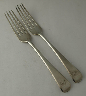 Pair Of George III Solid Silver Table Forks - London 1807