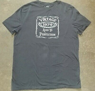 Men's Gray Vintage 1979 Aged To Perfection 40th Birthday T shirt Sz Lg