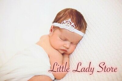Handmade Baby Girl Newborn Elastic Tiara Crown Headband Hairband Rhinestone