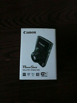 Brand New Canon PowerShot Elph 190 IS Black 20.0MP Digital Camera Free Shipping