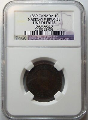 Canada, 1859 Large Cent, Narrow 9 Bronze - NGC Fine Details !!