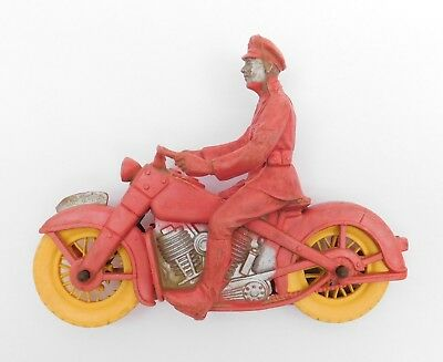 Vintage AUBURN Motorcycle Cop Police Toy Policeman V-Twin Harley Indian Rubber