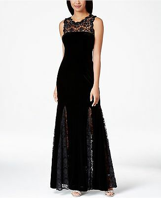 Betsy & Adam New Womens Black Embellished Velvet Lace Trim Evening Gown 10  $279
