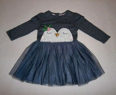 Mothercare Baby Girls 6-9m Grey Christmas Party Tutu Dress ~ Owl Design