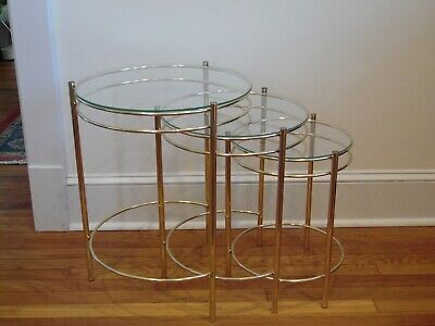 Hollywood Regency Round Brass and Glass Nesting End or Side Tables