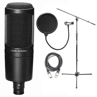 Audio Technica AT2020 Cardioid Condenser Mic w/ Mic Stand, Cable & Pop Filter