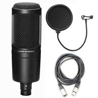 Audio Technica AT2020 Cardioid Condenser Microphone w/ Audio Cable & Pop Filter