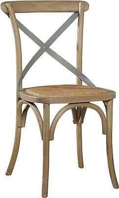 Pair Bentwood Dining Chairs Armless  Birch Wood Driftwood Finish  Metal