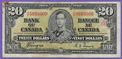 1937 Bank Of Canada $20 Twenty Dollar Bank Note!! Nice Vintage Note*H/E5893900