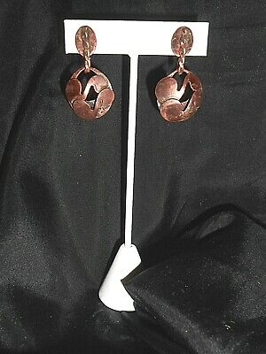Vintage 1950s Copper Hand Crafted Musical Note Dangles Screw Back Earrings