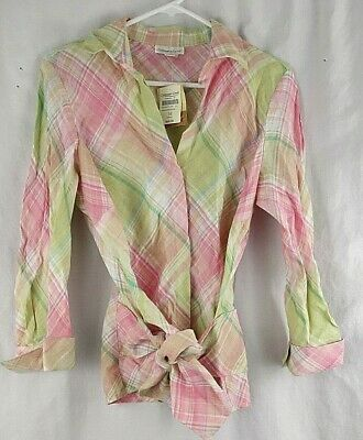 Coldwater Creek Pink Green Tonal Patchwork Plaid Linen Women's M Medium NEW