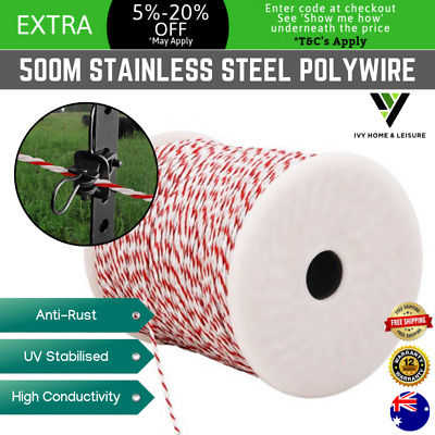 500m PolyWire Electric Fence Energiser Tape Insulator Poly Tape Stainless Steel