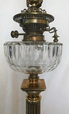 "Antique 1800's HINKS Brass Victorian Corinthian Column Banquet Oil Lamp 36"" RARE"