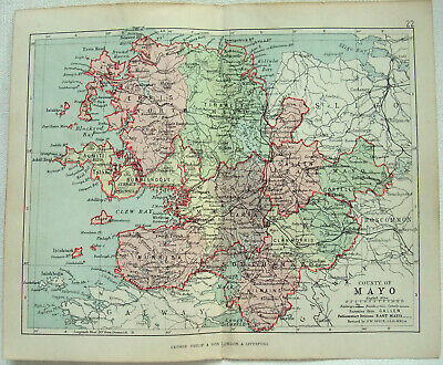 Original 1882 Map of The County of Mayo, Ireland by George Philip. Antique